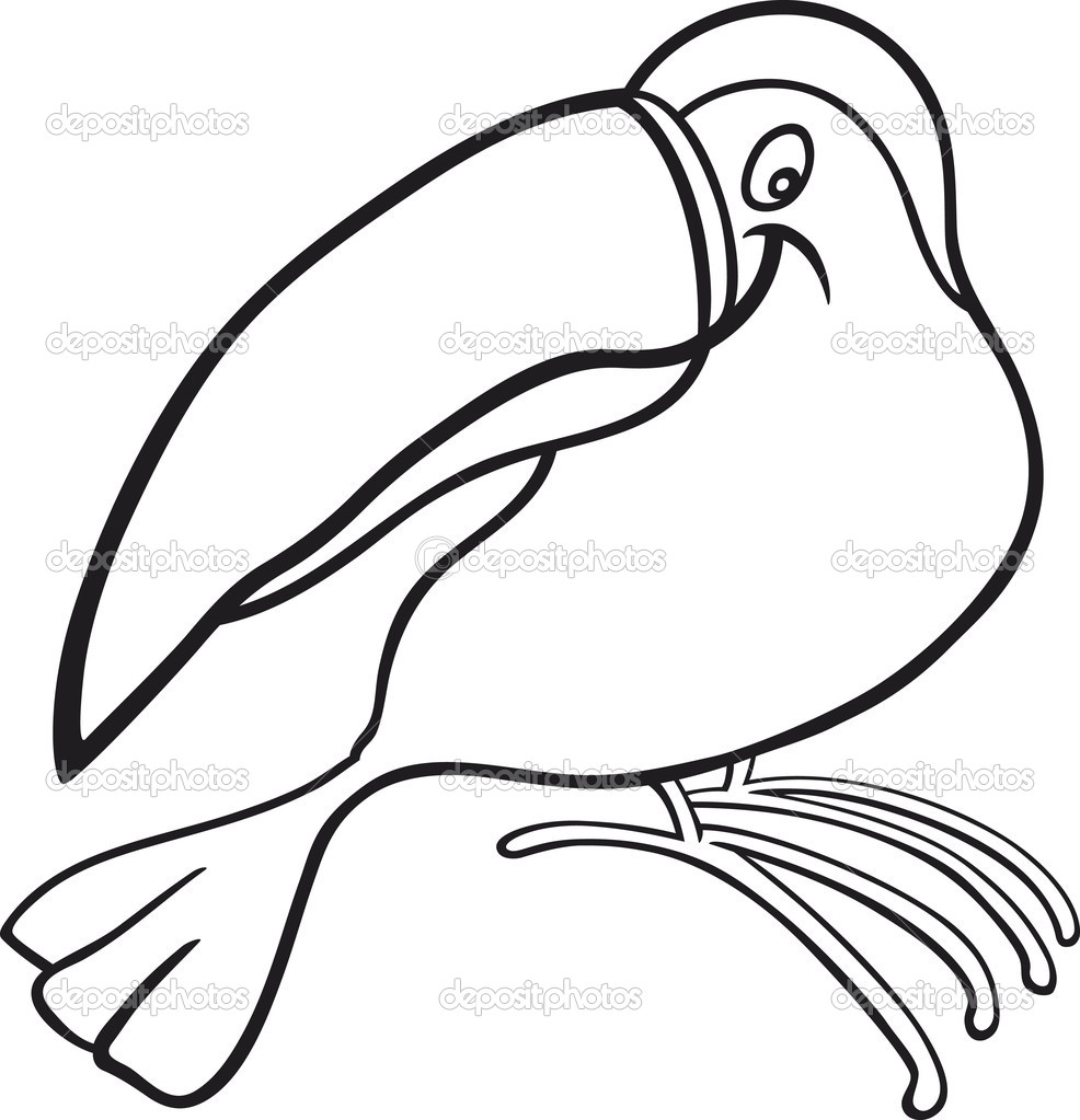 cartoon toucan for coloring book u2014 stock vector izakowski 5840567