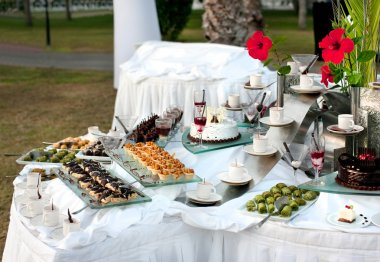 Sweet table for the buffet table at the festival
