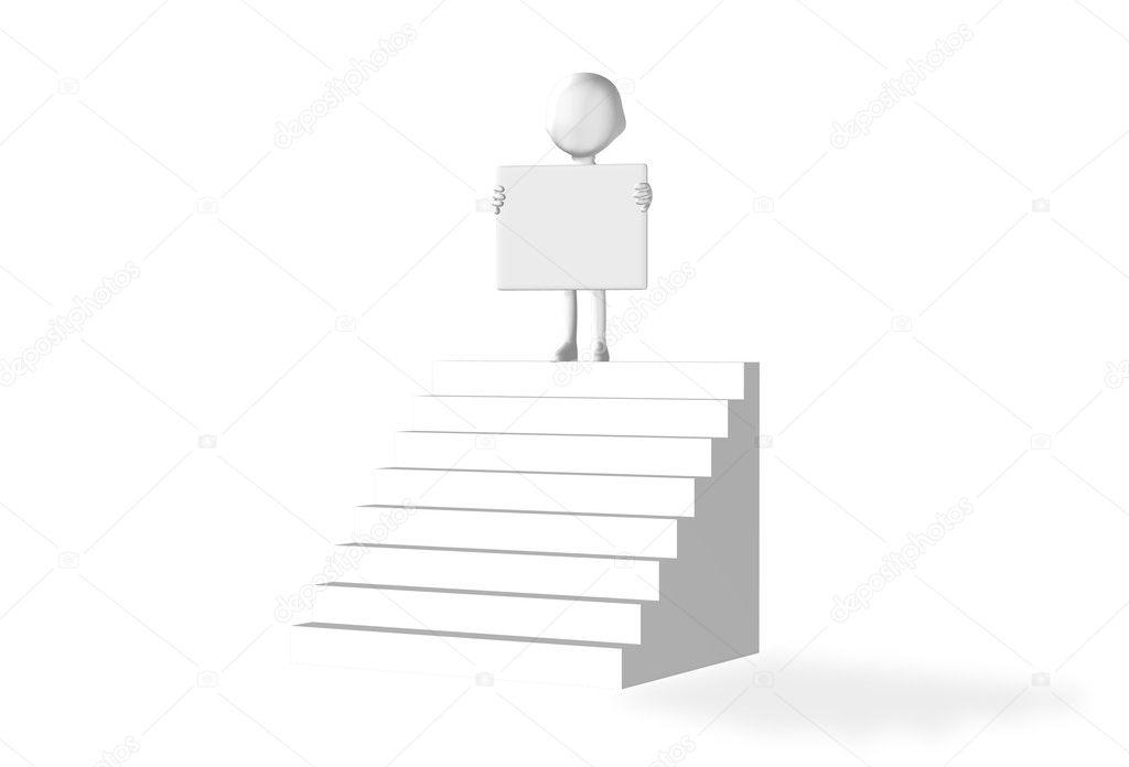 hombre que sostiene un tablero vacío sobre una escalera — Fotos de ...