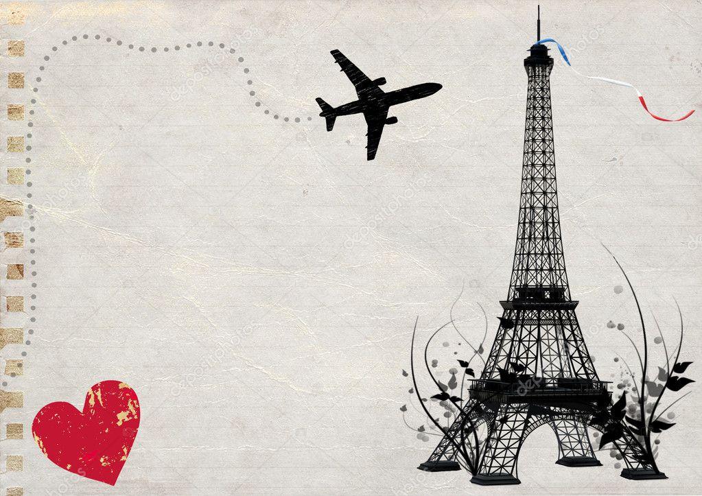 Paris eiffel tower empty card