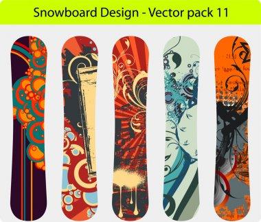 Snowboard design pack - full editable vector Illustration stock vector