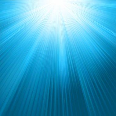 Sun rays on blue sky template. EPS 8