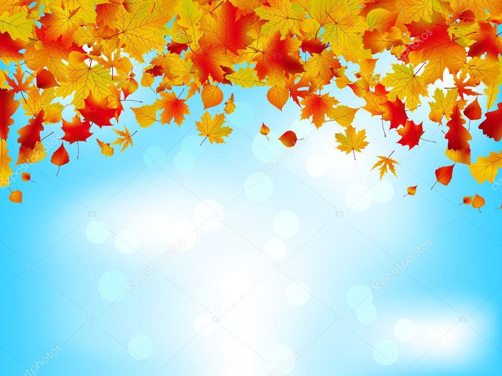 autumn leaves on blue sky seasonal background eps 8