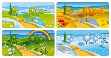 Set of four seasons banners. Vector Illustration (EPS v. 10) stock vector