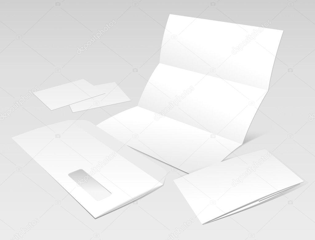 leere Brief, Briefumschlag, Visitenkarten und die Broschüre ...