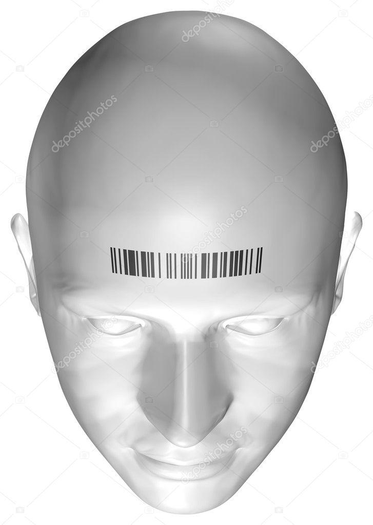 3D Render eines menschlichen Kopfes mit Barcode-Stempel — Stockfoto ...