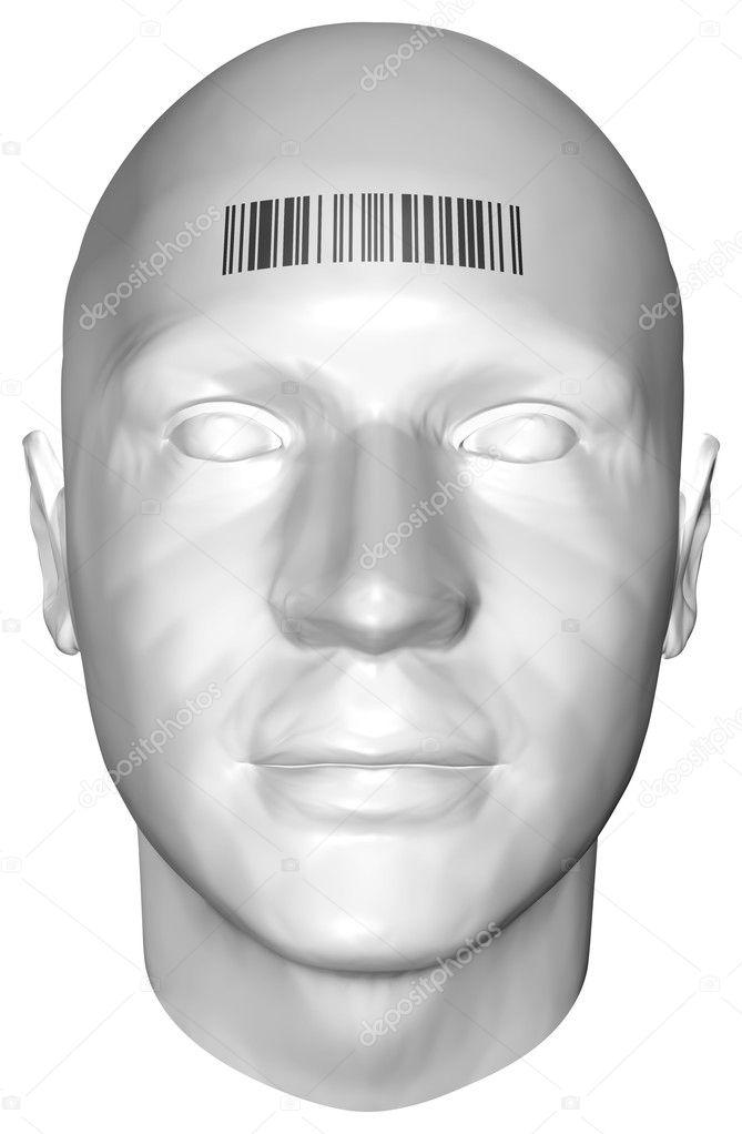 3D render van een menselijk hoofd met barcode stempel — Stockfoto ...