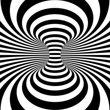 Black and white stripes projection on torus. Vector illustration stock vector