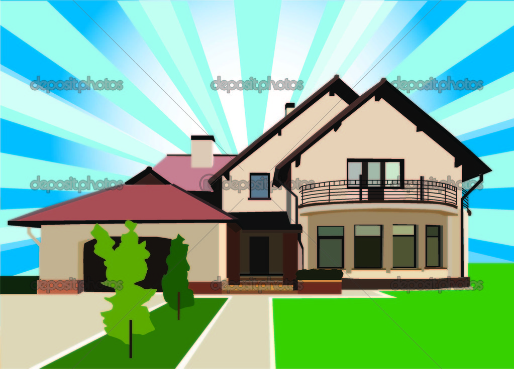 Beautiful Big Housecottage Stock Vector AnnaBLOND - Big cartoon house