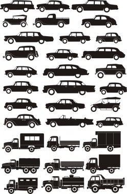 Silhouettes cars set