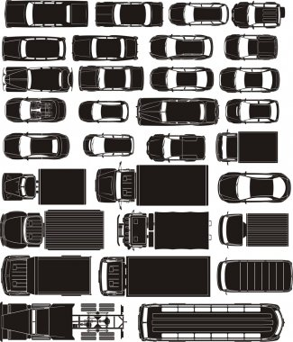 Cars overhand view silhouettes