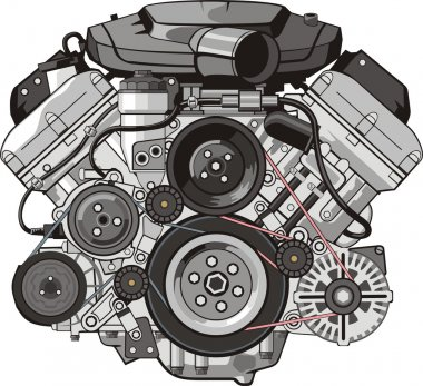 ENGINE of INTERNAL COMBUSTION FRONTAL stock vector