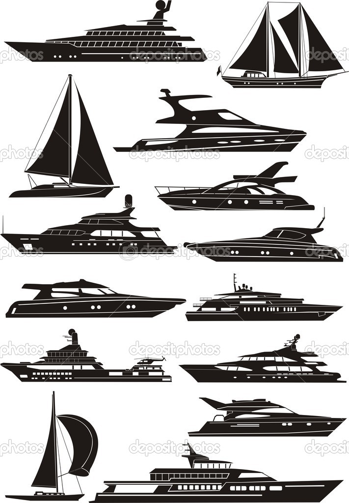 Silhouettes of the boats