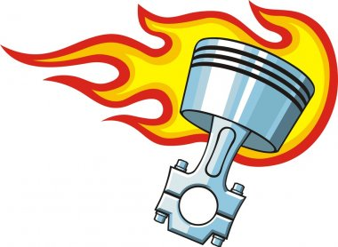 Piston in fire