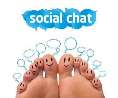 Happy group of finger smileys with social chat sign