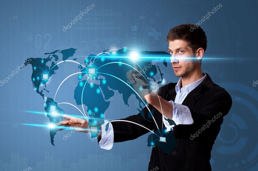 Man pressing modern touch screen buttons