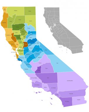 California state counties map with boundaries and names. Eps file contains separate layers stock vector