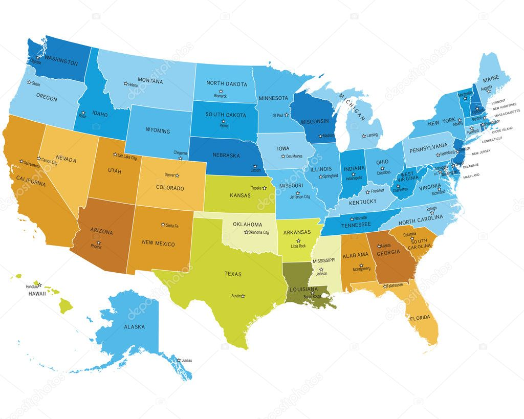 USA map with names of states — Stock Vector © Lumumba #6379823