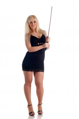 Blonde with a sabre in hands looks at you, on a white background