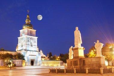 St Michael church at night in Kiev