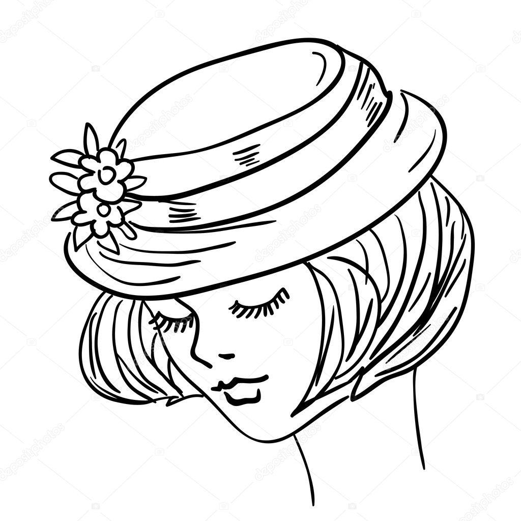 hand drawn fashion model illustration woman s face ストック写真