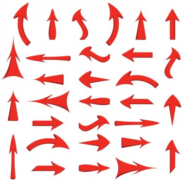 set of red arrows on white