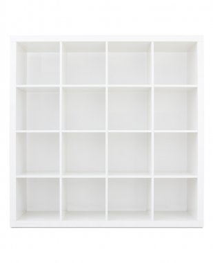 Empty white wooden bookshelf