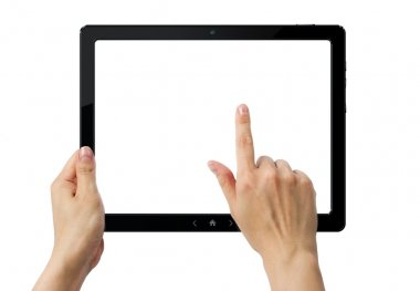 Hands holding PC tablet with three clipping paths