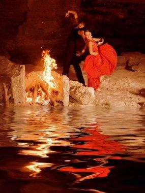 Couple of spanish flamenco dancers performing in spain