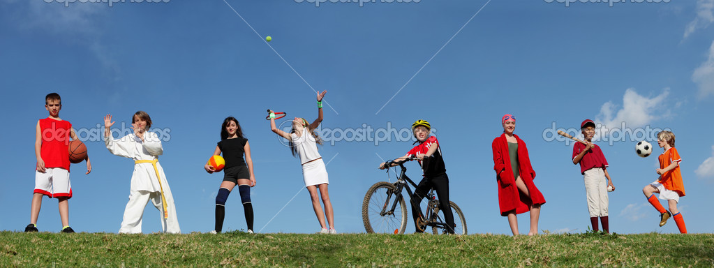 Group of sports kids