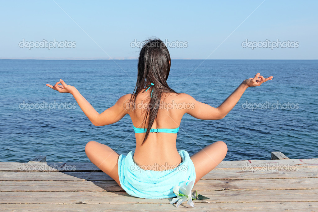 Summer yoga meditation woman