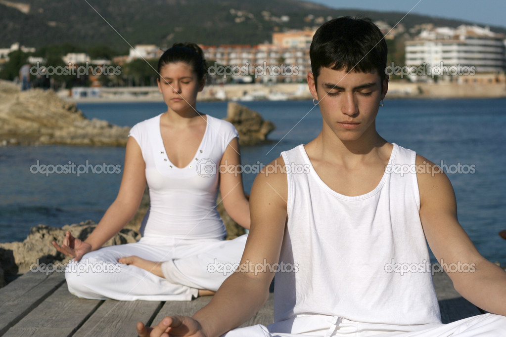 Yoga or meditation class outdoors