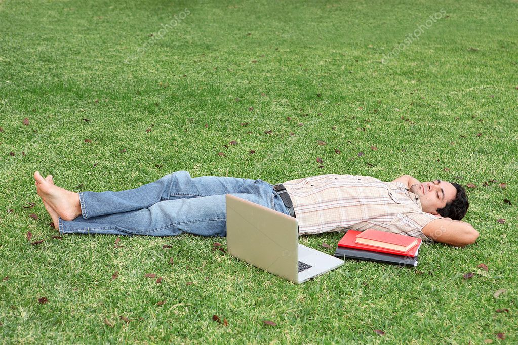 Student relaxing on campus