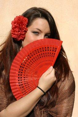 Spain, spanish woman with fan