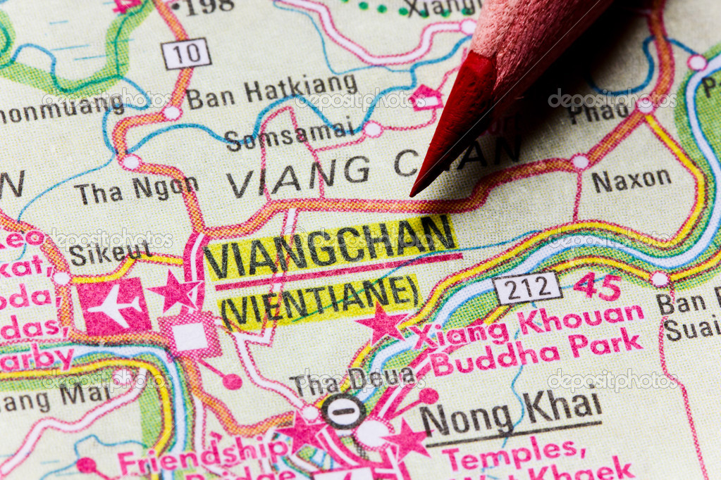 Map of Lao Viangchan or Vientiane Stock Photo mapichai 5874635