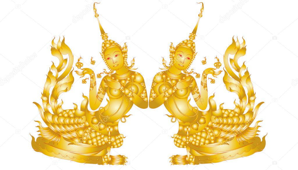 Physical patterns of Thai art isolated on white