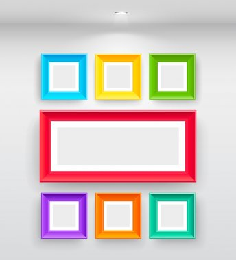 Gallery Interior with empty colorful frames on wall clip art vector