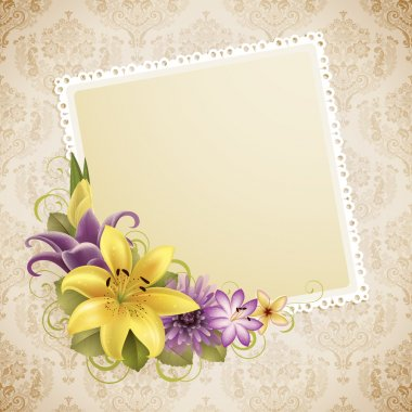 Vintage greeting card with flowers and place for text stock vector