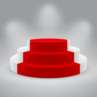 3d isolated Empty white podium with red carpet