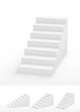 Collection of white 3d staircases