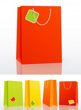 Colorful shopping bag on white background