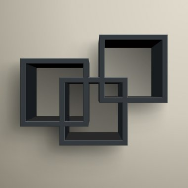 3d isolated Empty black bookshelf