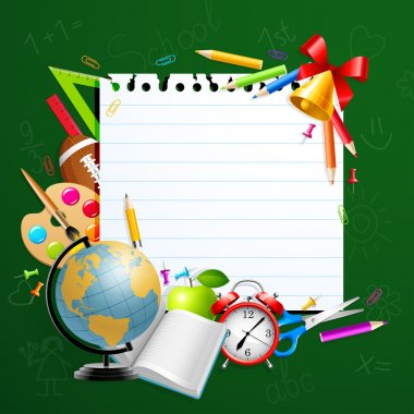 Back to school greeting card with stationery