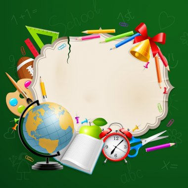 Back to school greeting card with stationery.