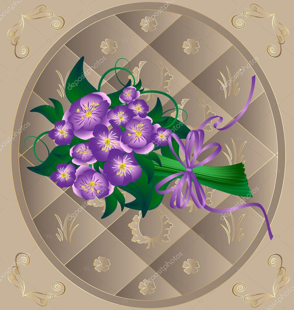 marco de color beige y flores de color púrpura — Vector de stock ...