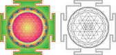 Vektorové Šrí Jantra (nebo Šrí Jantra) pro meditaci. Barvy a