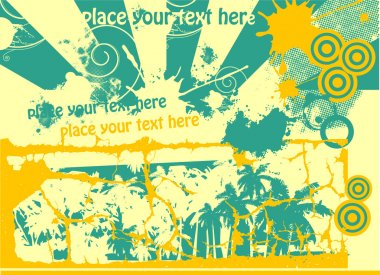 Tropical abstract yellow and blue vector illustration with palms
