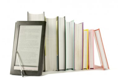 Row of printed books with electronic book reader on white background