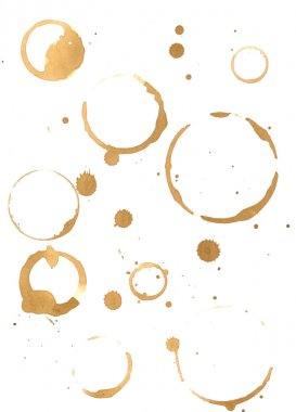 Prints of coffee spilled on the paper stock vector