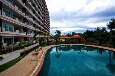 The condominium near the swimming pool